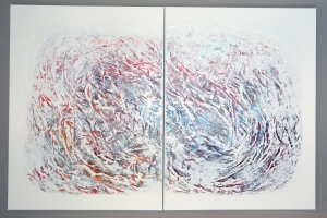 Untitled #25 - 2016 (Mixed media Acrylic on canvas) - 2 panels - 48'' x 36'' x 1.5''