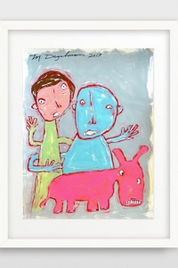 Two kIDs a pINK dOG