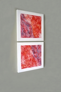Study in Red - 2016 - (Mixed media on Canvas) - 2 panels - 20'' x 20'' x 1.5''
