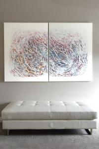 Dreams - 2016 (Mixed media Acrylic on canvas) - 2 panels - 48'' x 36'' x 1.5''